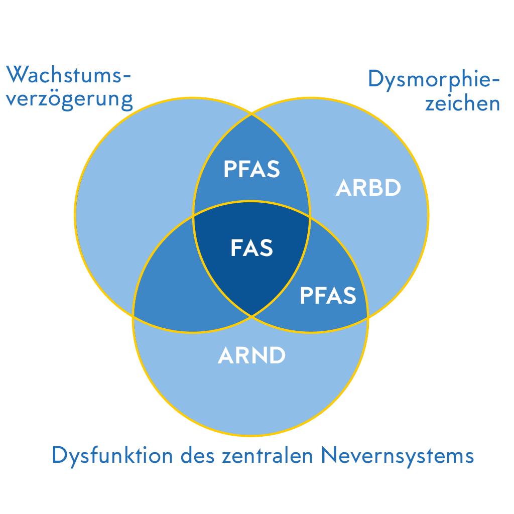Venn Diagramm mit überlappenden Kreisemn zur Illustration der FASD Begriffe