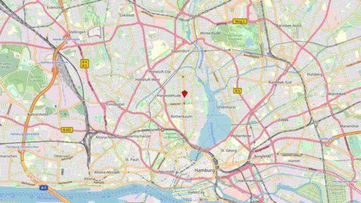 Kartenausschnitt Innenstadt Hamburg mit Marker auf Institut Kinderneurologie 20149 Hamburg Rothenbaumchaussee 114