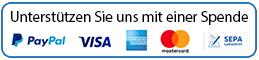 Button mit Beschriftung - Unterstützen Sie uns mit einer Spende - sowie Logos von PayPal und Kreditkarten